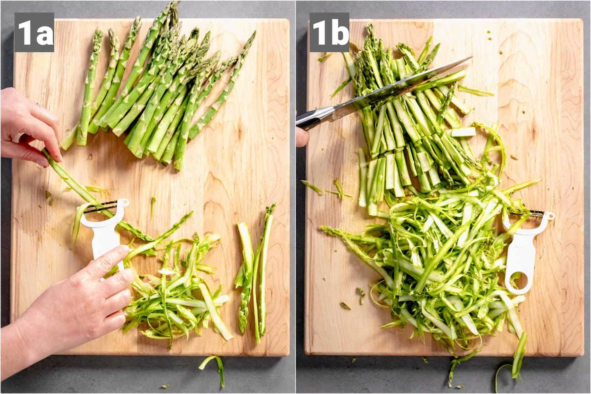 A knife on a cutting board with Shaved asparagus