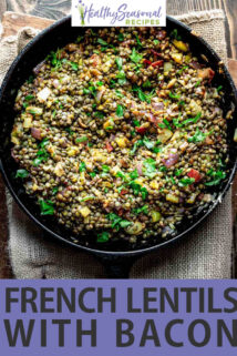 french lentils text overlay