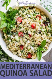 Mediterranean Quinoa Salad text overlay
