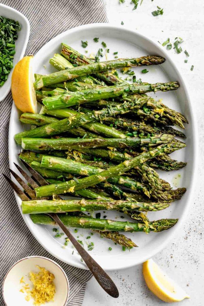 Roasted Asparagus with Lemon and herbs