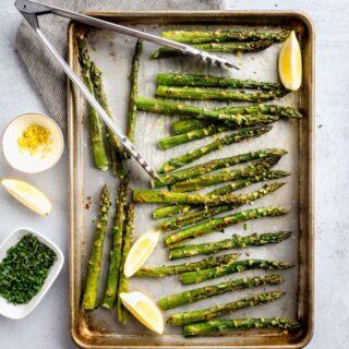 roasted asparagus on a sheet pan