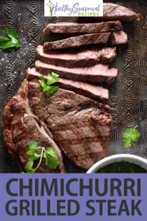Grilled Sirloin Steak with Chimichurri Sauce text overlay