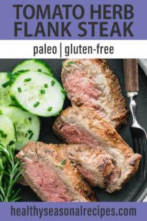 tomato herb flank steak text overlay
