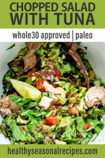 Chopped Salad with Tomatoes, Olives, and Tuna text overlay