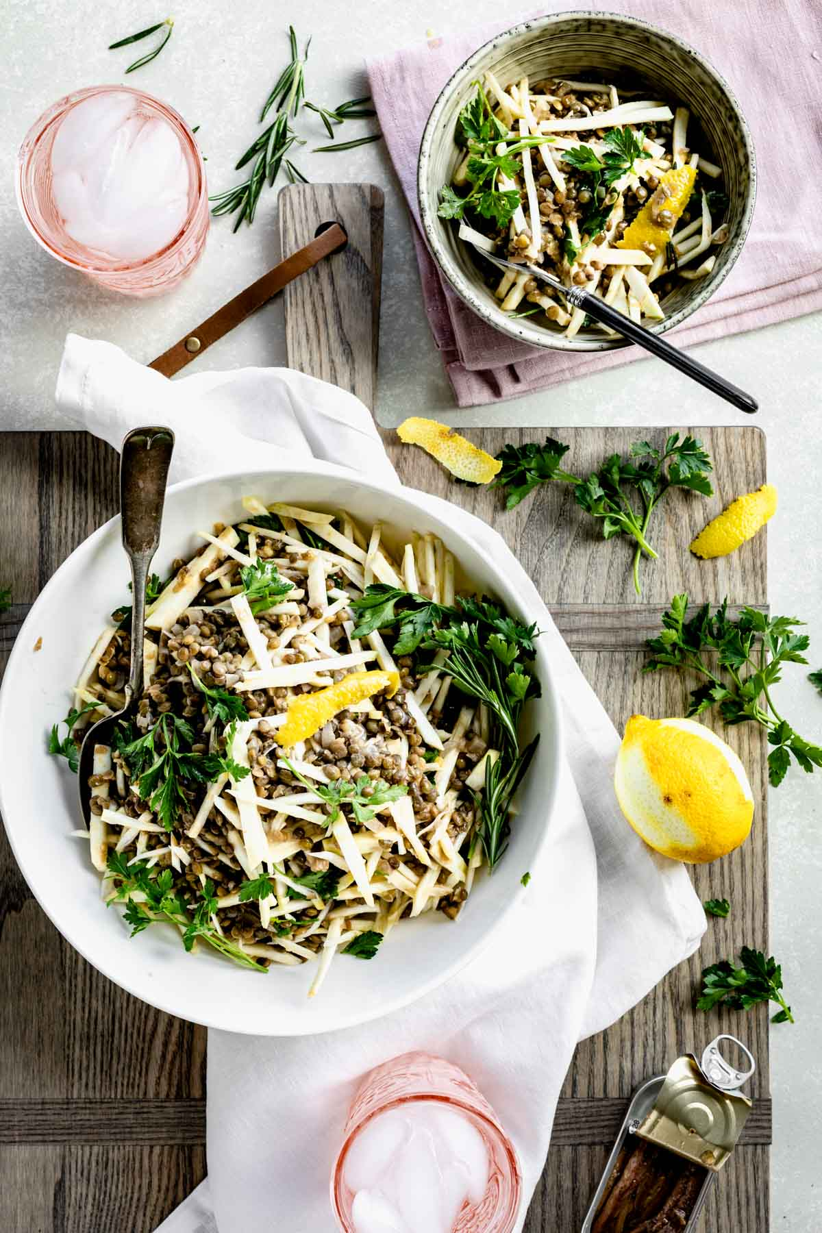 lentil salad with lemon and parsley
