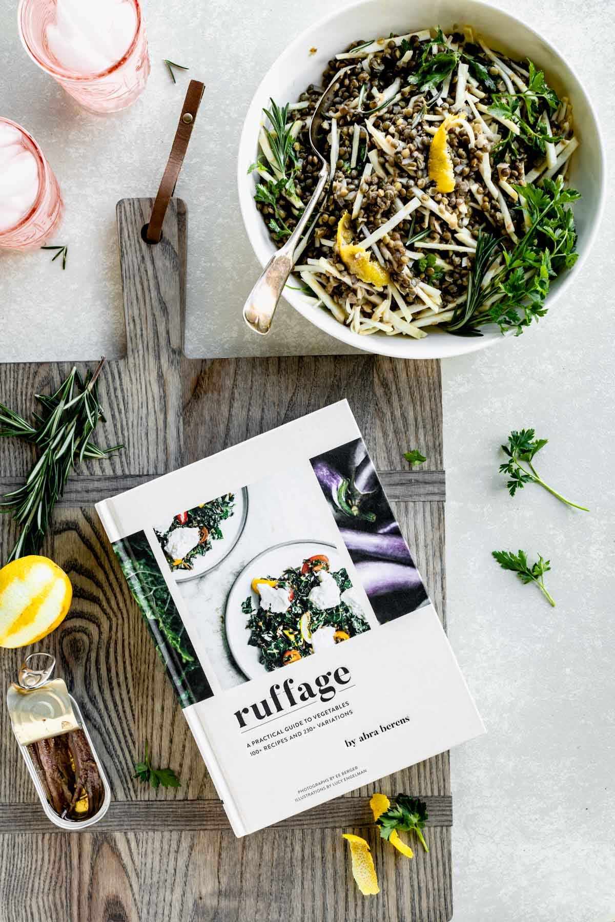 ruffage cookbook in the kitchen with a bowl of salad