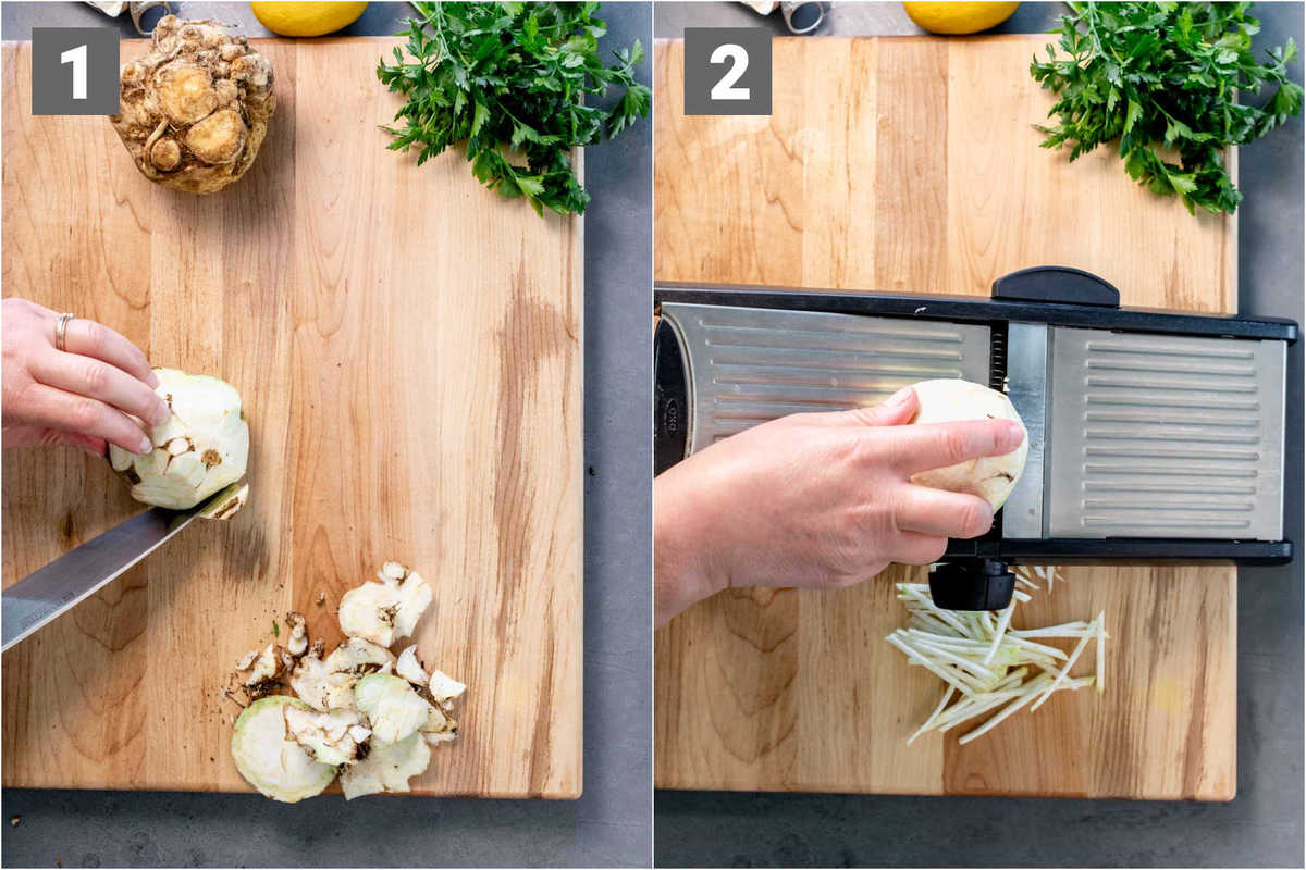 peel the celeriac and cut with a mandoline
