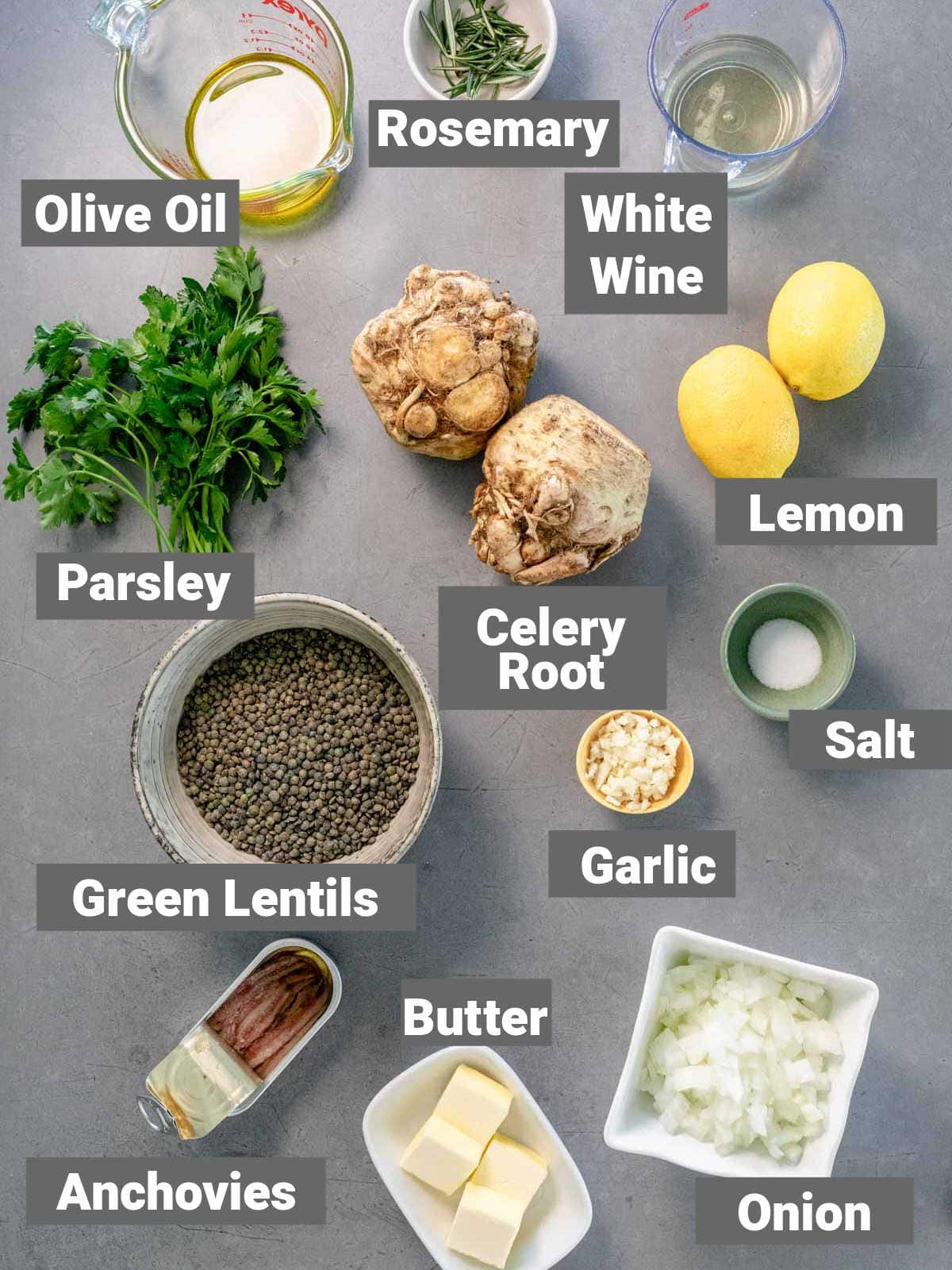 ingredients for the recipe on a gray countertop with labels