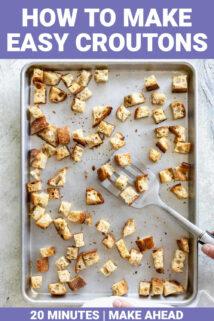croutons on a pan