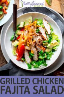 grilled chicken fajita salad text overlay