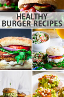 Healthy Burger Recipes text overlay collage