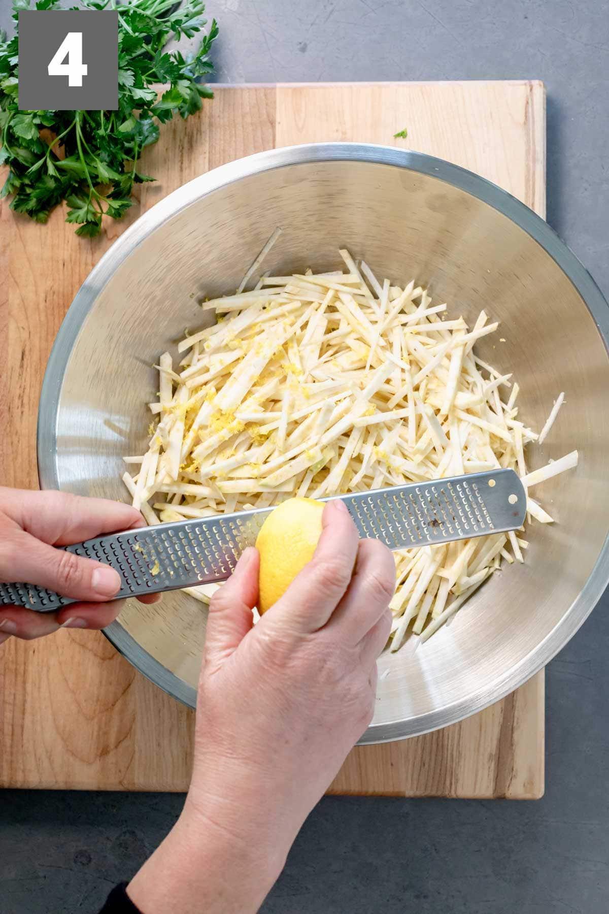 zest lemon over the celery root