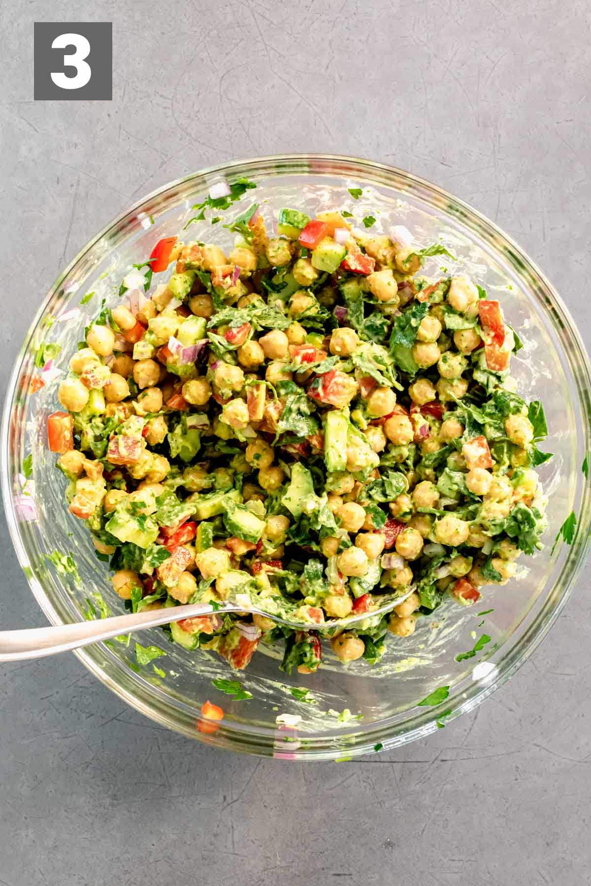 dressing and chickpea mixture once it is mixed together