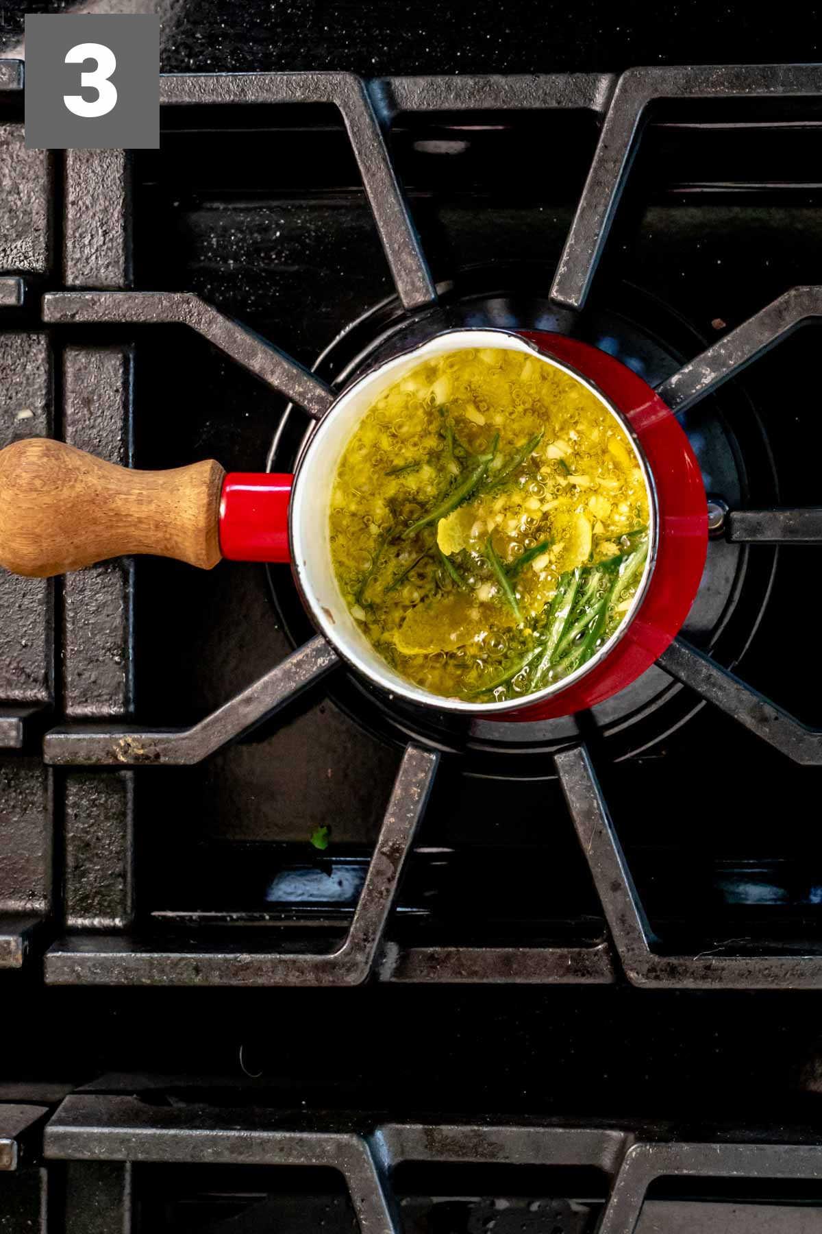 simmer the rosemary and lemon peel in the bagna cauda