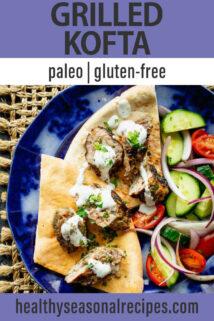 Grilled Lamb Kofta Kebabs text overlay