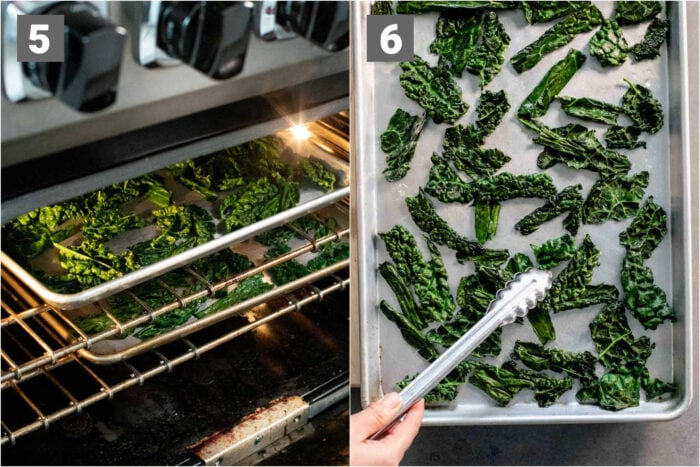 baking the kale chips and turning them