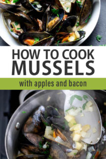 mussels with apples and bacon text overlay