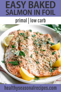 Easy Baked Salmon in Foil text overlay