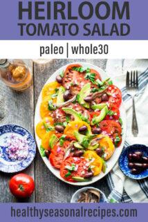 Simple Heirloom Tomato Salad text overlay