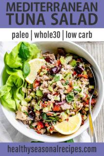Mediterranean Tuna Salad text overlay