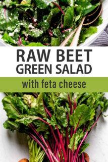 beet green salad text overlay collage