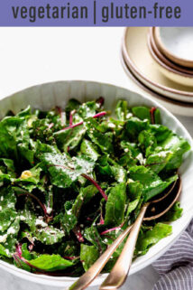 beet green salad white serving bowl text overlay