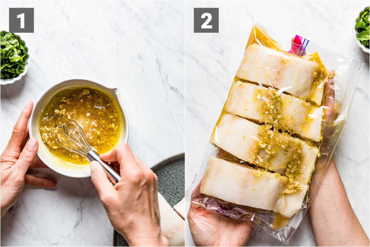 whisking the marinade and the fish in a bag with the marinade