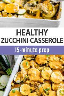 zucchini cheesy casserole collage text overlay