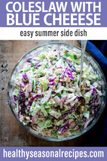 Coleslaw with Blue Cheese text overlay