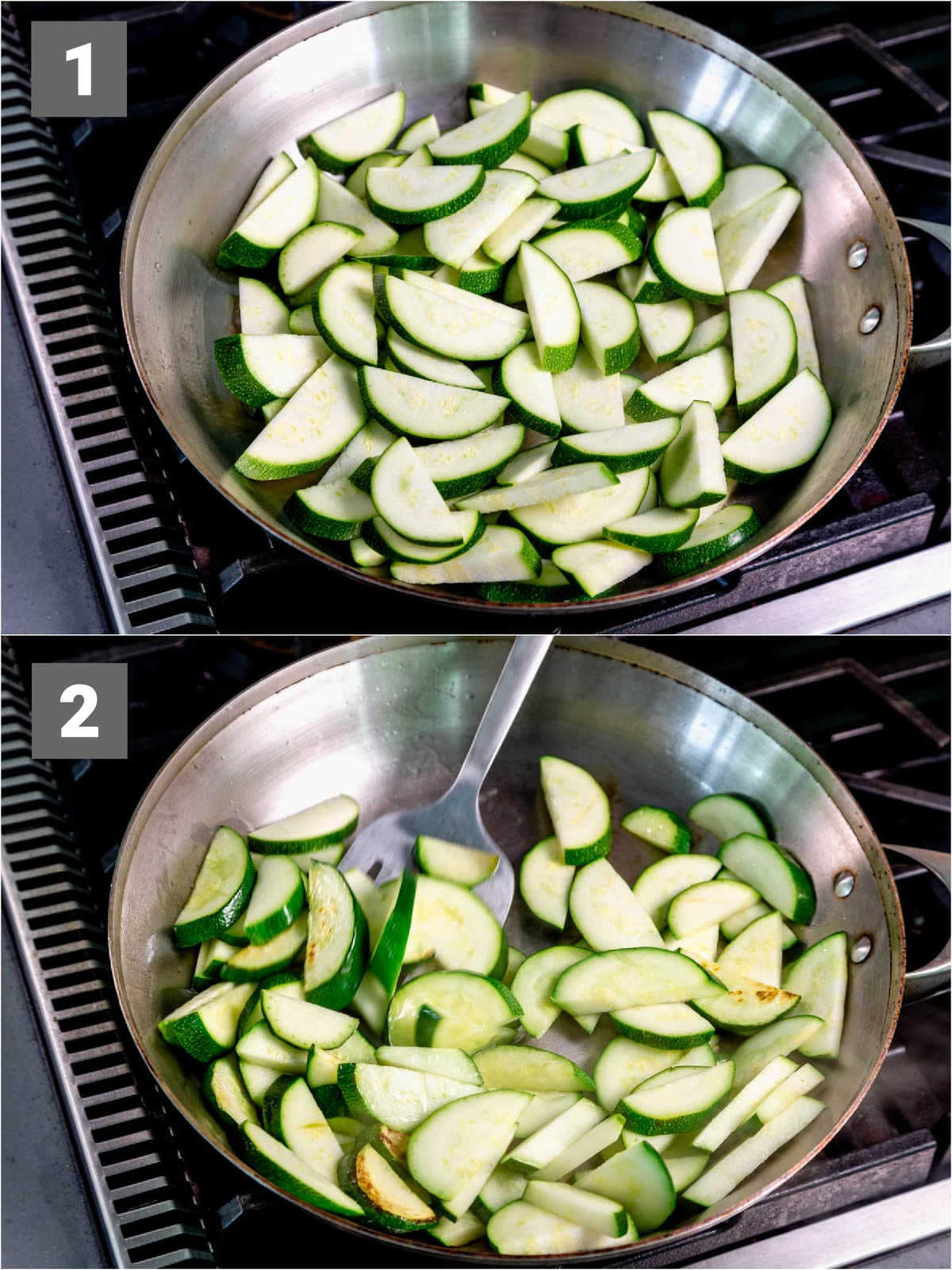 how to cook this dish, step one and two: sauteeing the zucchini