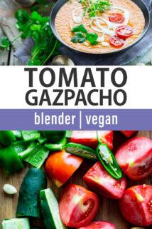 tomato gazpacho text overlay collage