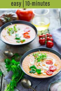 tomato gazpacho side angle bowls text overlay