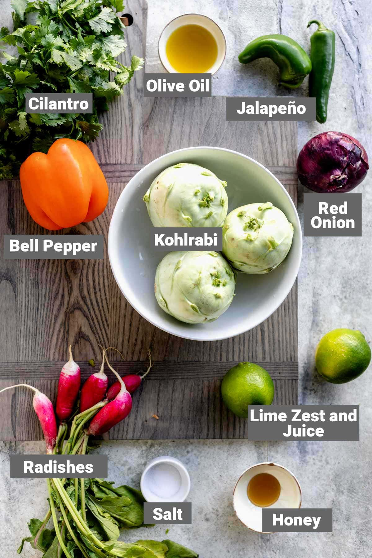 ingredients for kohlrabi slaw with text overlay