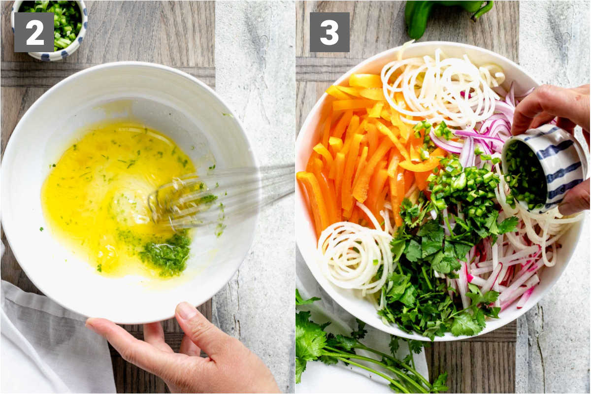 whisk dressing and add ingredients