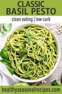 basil pesto pasta bowl text overlay