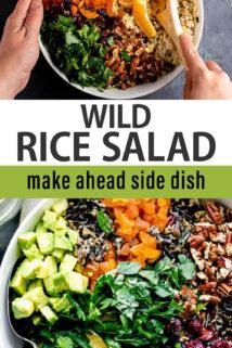 wild rice salad text overlay collage