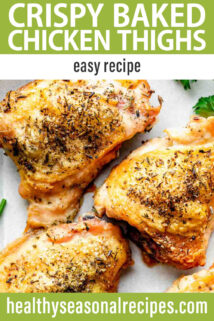 Crispy Skin Baked Chicken Thighs text overlay