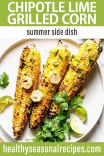 Grilled Corn with Chipotle Lime Butter text overlay