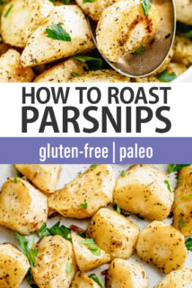 roasted parsnips with text overlay