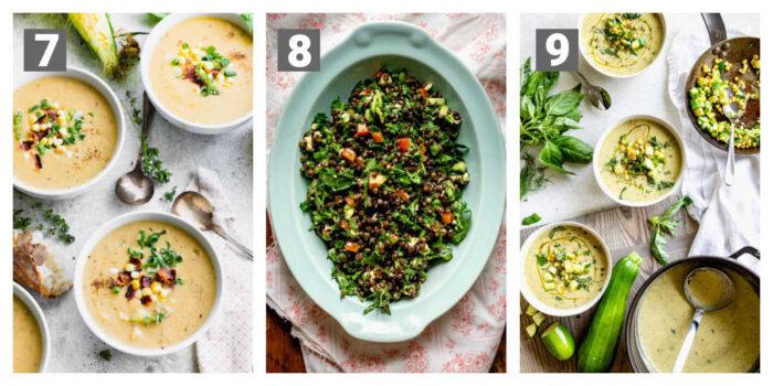 corn chowder, black lentil salad, zucchini soup