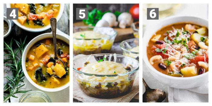 vegan vegetable soup, vegetarian shepherd's pie, minestrone soup