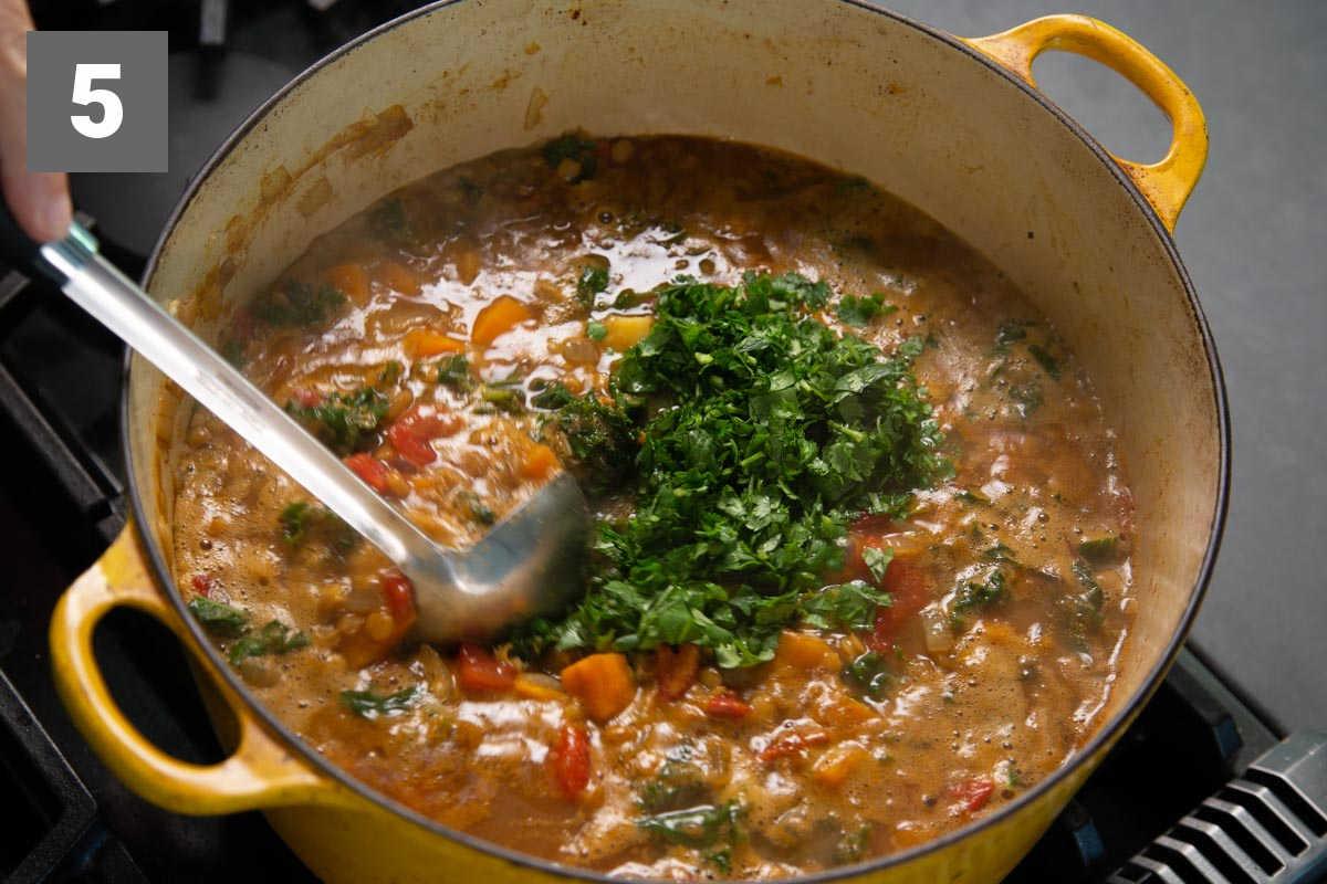 adding in the cilantro