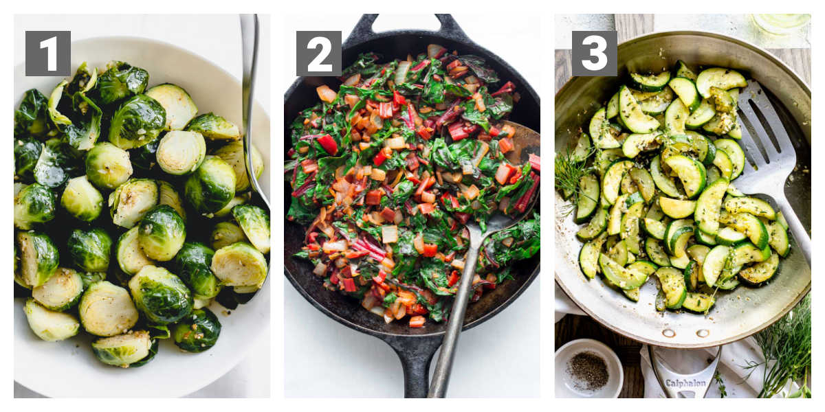 brussels sprouts, swiss chard, sauteed zucchini