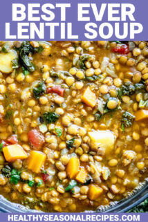 close-up of lentil soup with text overlay