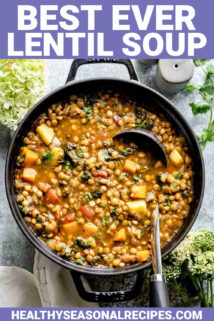 lentil soup in a black dutch oven with text overlay