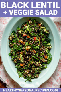 lentil salad in a blue bowl with text overlay