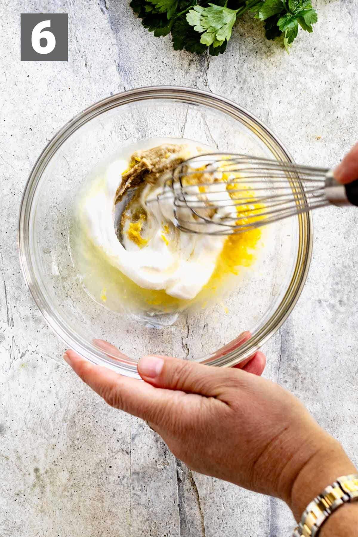 whisk yogurt tahini and lemon for the sauce