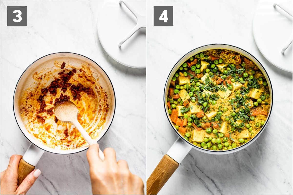 saute the garlic and garam masala