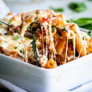 vegetable pasta bake close up