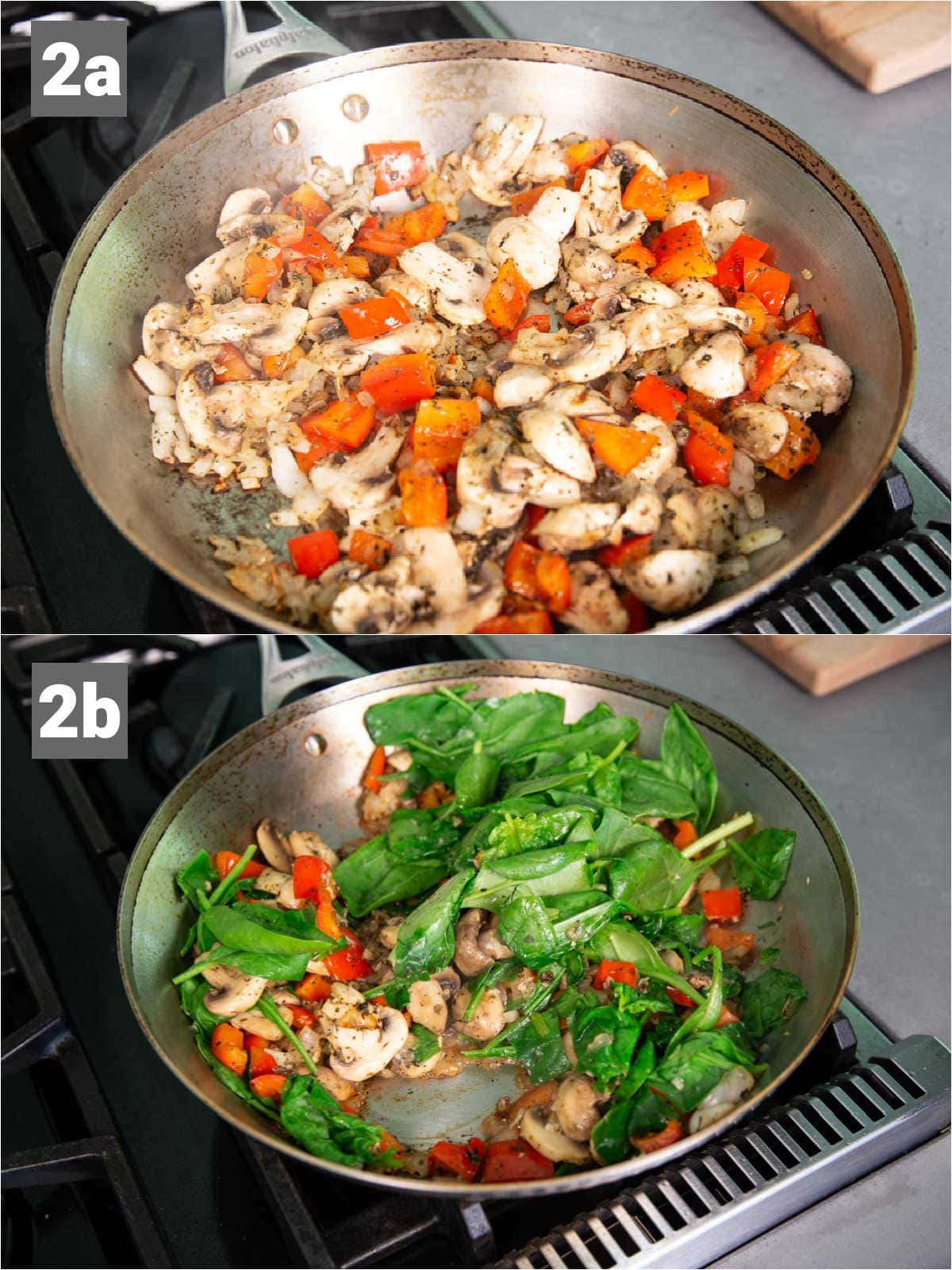 the vegetables cooking in a skillet